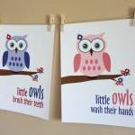 Little Girl Owl Bathroom Ar..