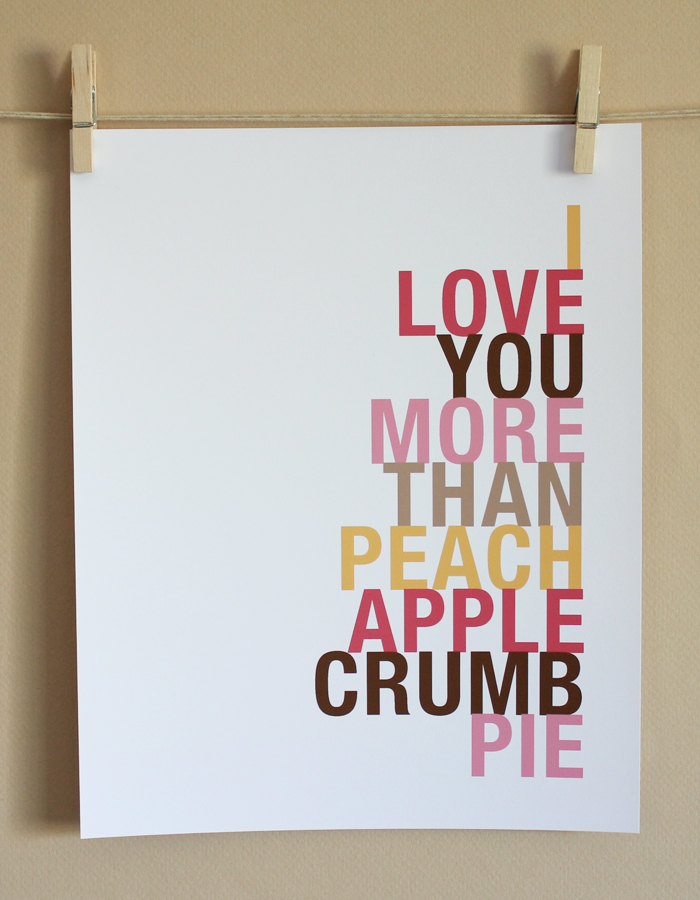 Peach Apple Crumb Pie Art Print, 8x10