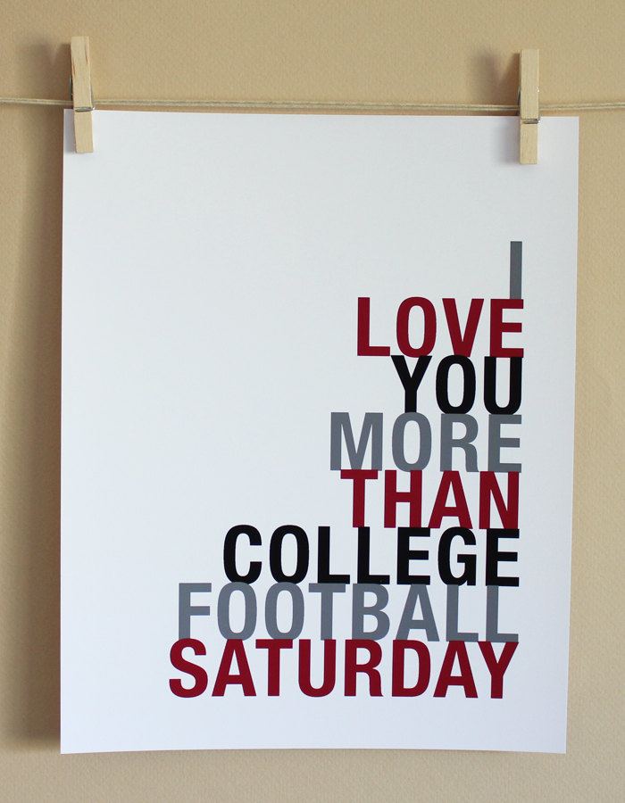 College Football Saturday Art Print, 8x10