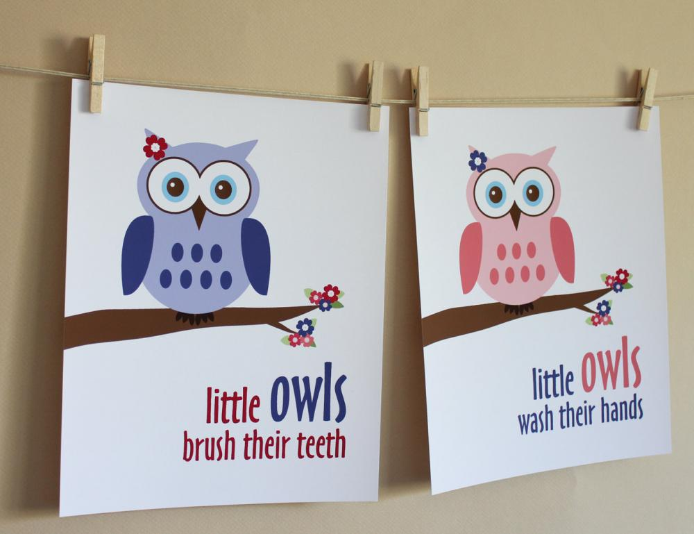 Little Girl Owl Bathroom Art Prints