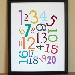Multi-Color Numbers Art Print, 11x14, Unframed