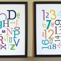 Multi-Color Alphabet and Numbers Art Prints, 11x14, Unframed