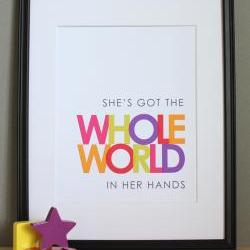 She&#039;s Got the Whole World in Her Hands, Christian Art Print
