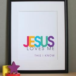 Jesus Loves Me, Christian Nursery Wall Art, Girl Colors