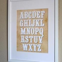 Western Alphabet Nursery Art, 8x10