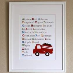 Transportation Alphabet with Truck, 8x10
