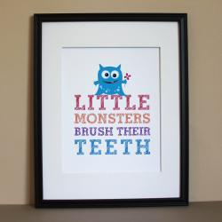 Little Monsters Brush Their Teeth, 8x10 - GIRL