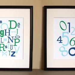 Alphabet Numbers, Blue Green, Two 8x10 Prints
