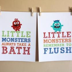 Little Monsters Remember to Flush and Always Take a Bath, Two 8x10 Prints - BOY