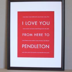 I Love You From Here To Pendleton, US Marine Corps Art, 8x10
