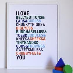 I Love Belly Buttons nursery art print,11x14  